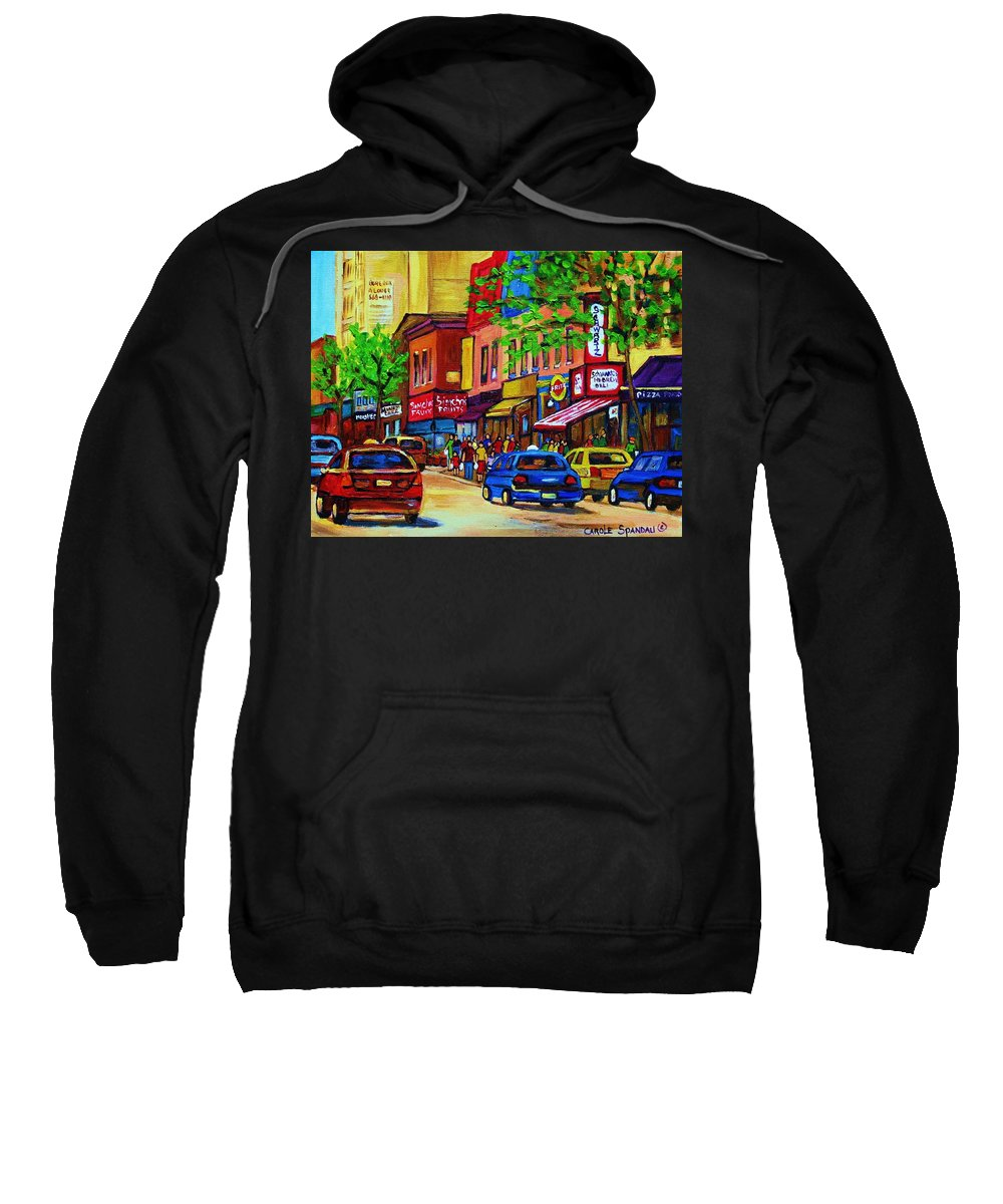 Cityscape Sweatshirt featuring the painting Saint Lawrence Street by Carole Spandau