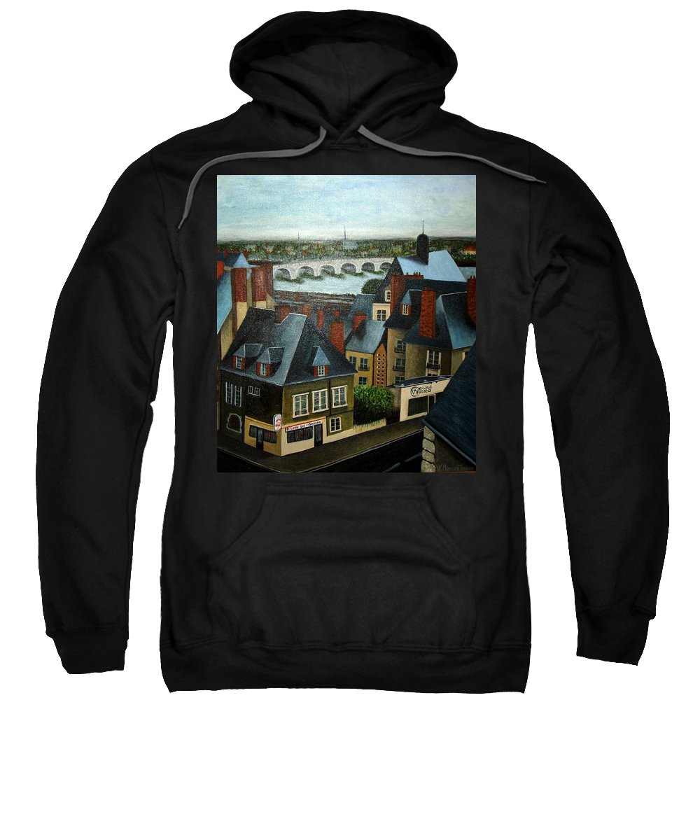Acrylic Sweatshirt featuring the painting Saint Lubin Bar In Lyon France by Nancy Mueller