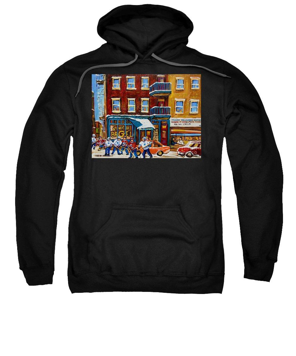 Montreal Sweatshirt featuring the painting Saint Viateur Bagel With Hockey by Carole Spandau