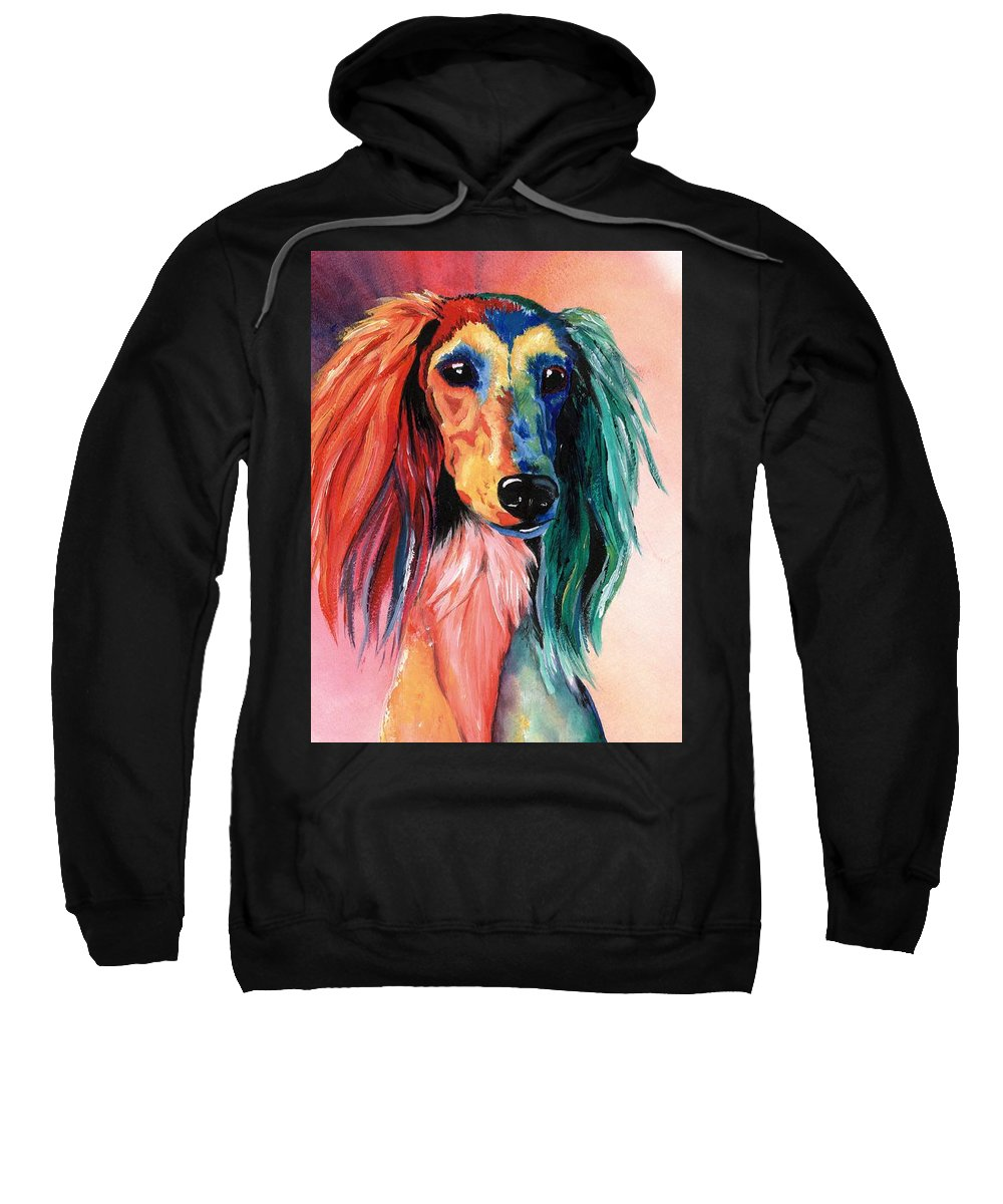 Saluki Sweatshirt featuring the painting Saluki Sunset by Kathleen Sepulveda