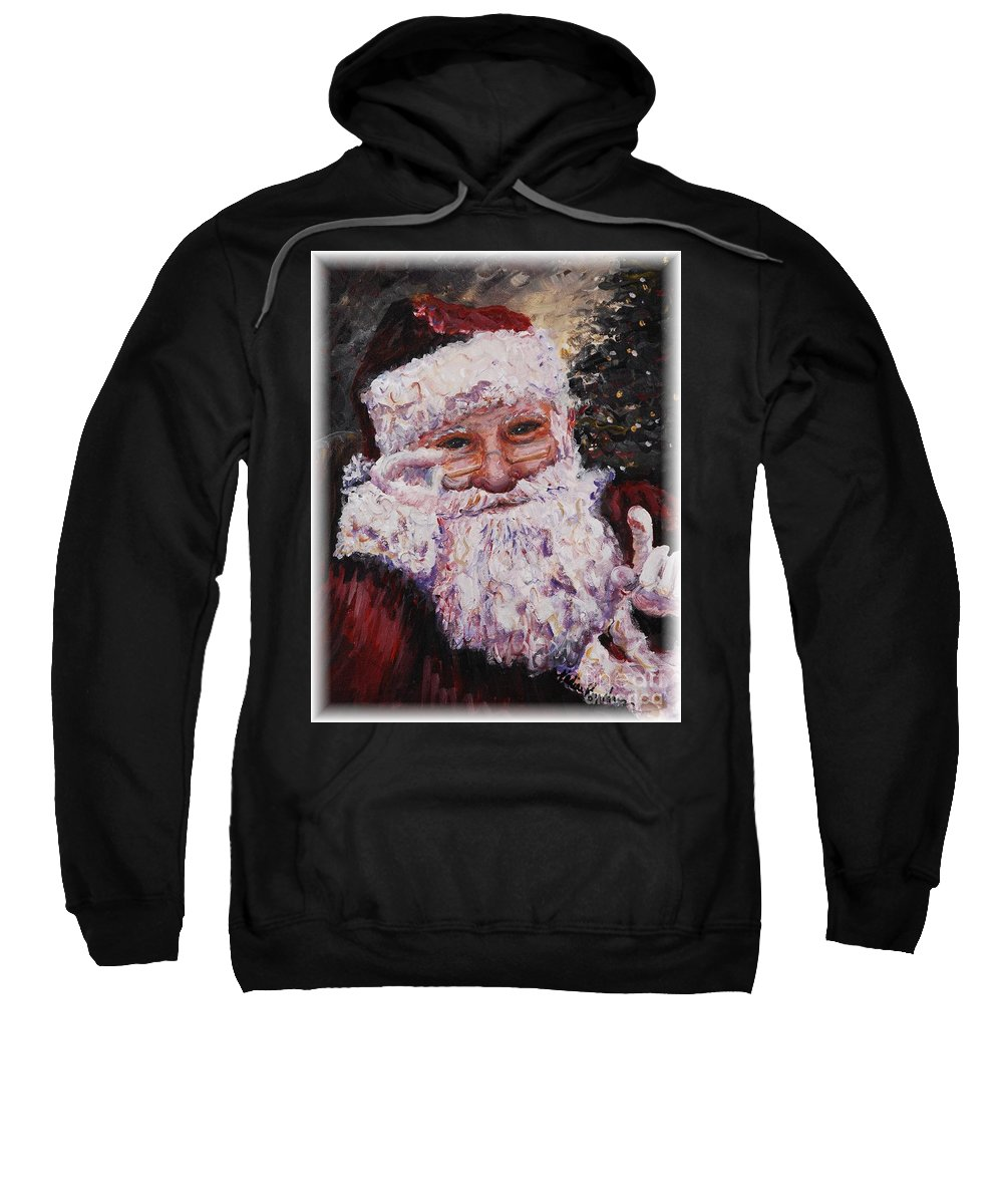 Santa Sweatshirt featuring the painting Santa Chat by Nadine Rippelmeyer