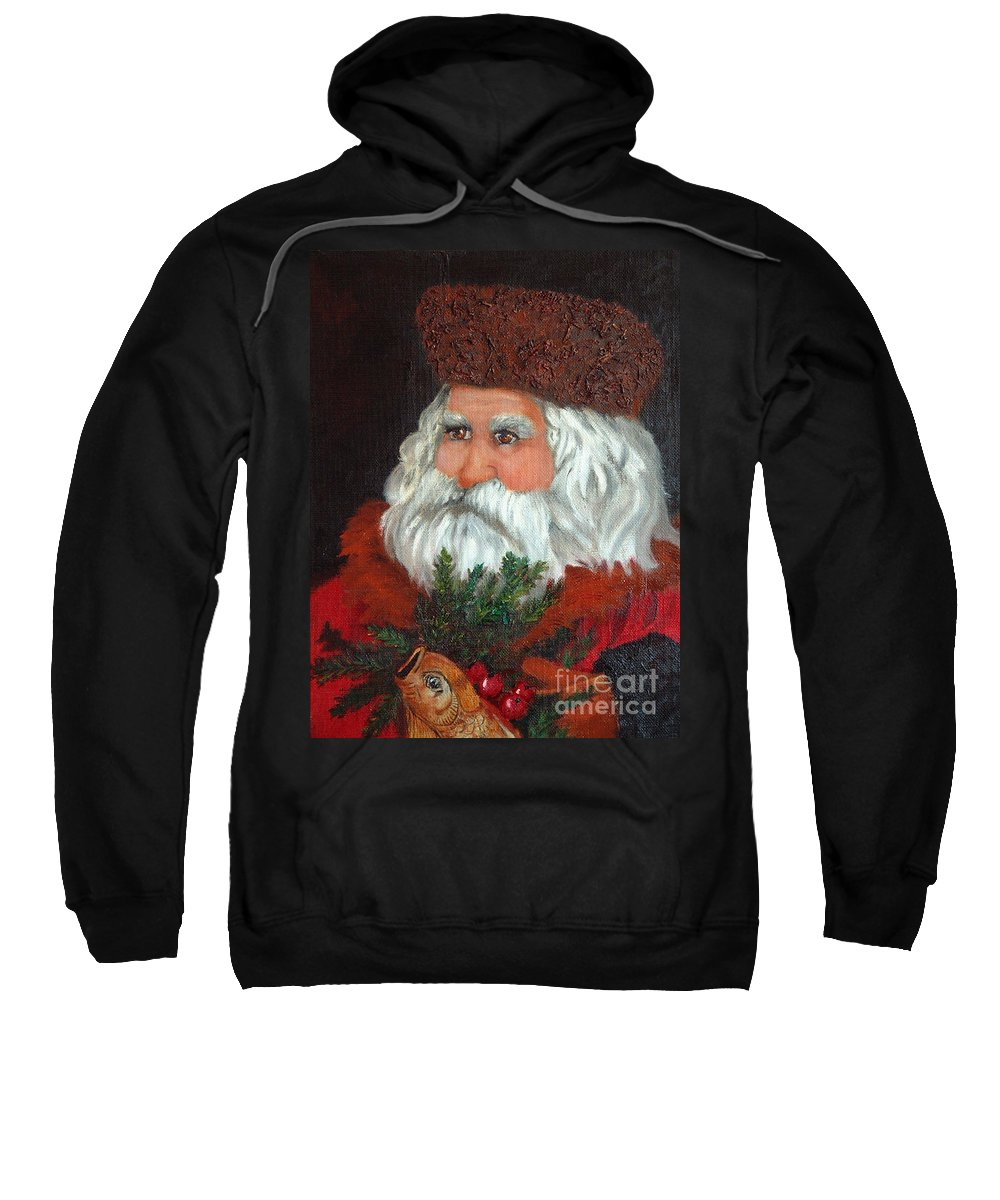 Santa Sweatshirt featuring the painting Santa by Portraits By NC