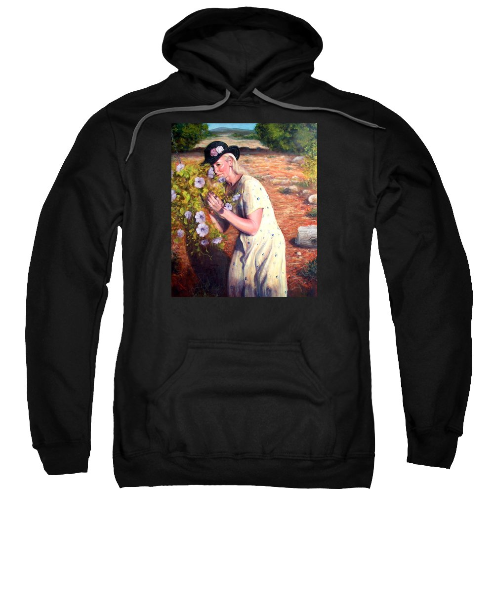 Realism Sweatshirt featuring the painting Santa Fe Garden 2  by Donelli DiMaria