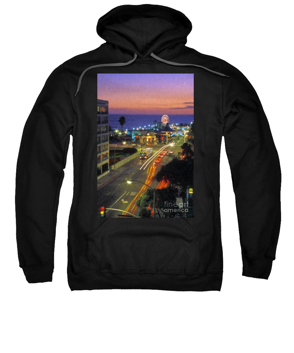 Santa Monica Ca Sweatshirt featuring the photograph Santa Monica Ca Pacific Park Pier Sunset by David Zanzinger