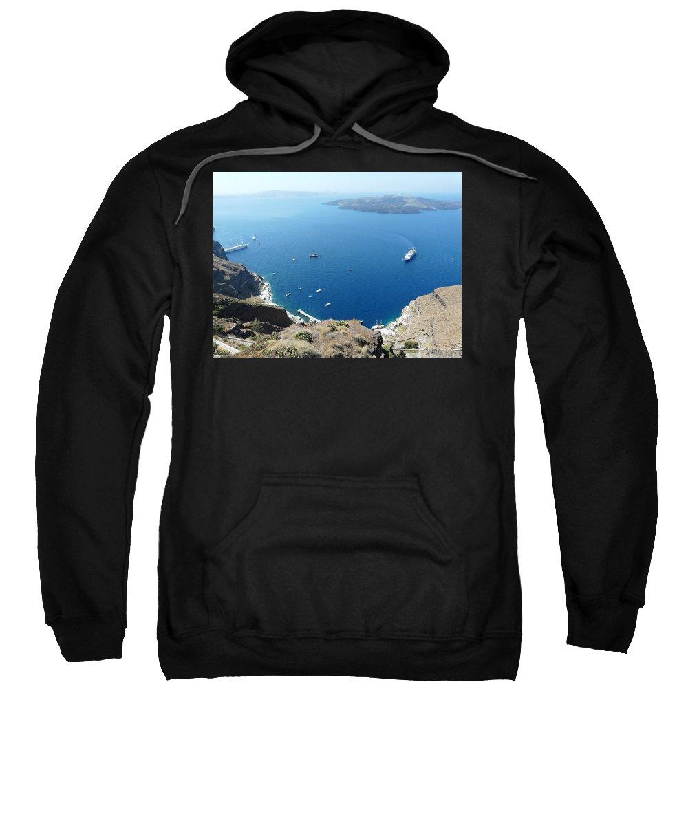 Santorin Sweatshirt featuring the photograph Santorini Old Port At Fira by Valerie Ornstein