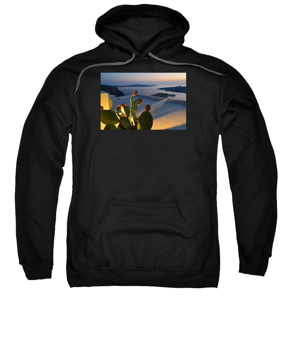 Santorini Sweatshirt featuring the photograph Santorini.fira Sunset by Thiras art