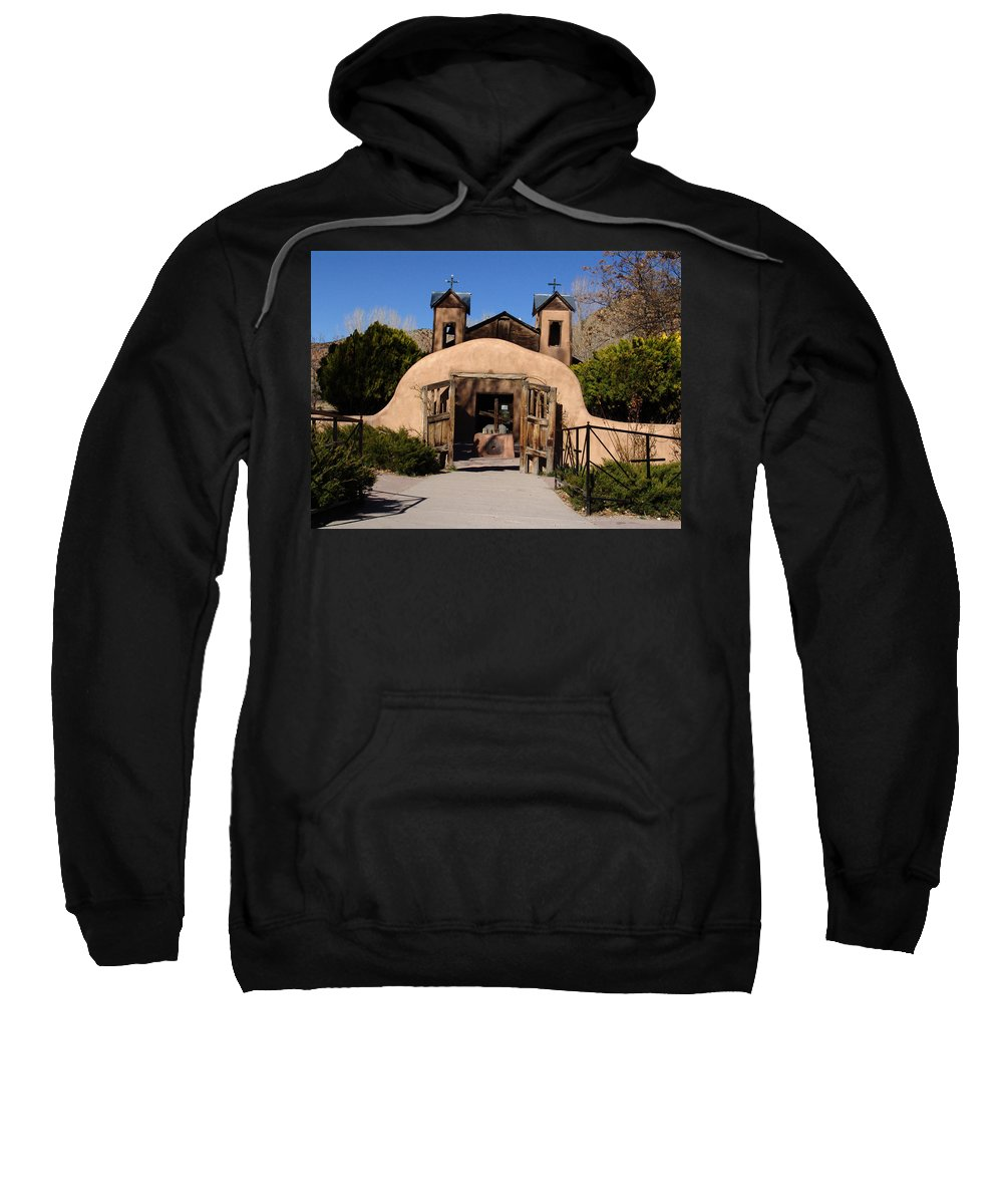 Church Sweatshirt featuring the photograph Santuario De Chimayo Adobe Chapel by Carol Milisen