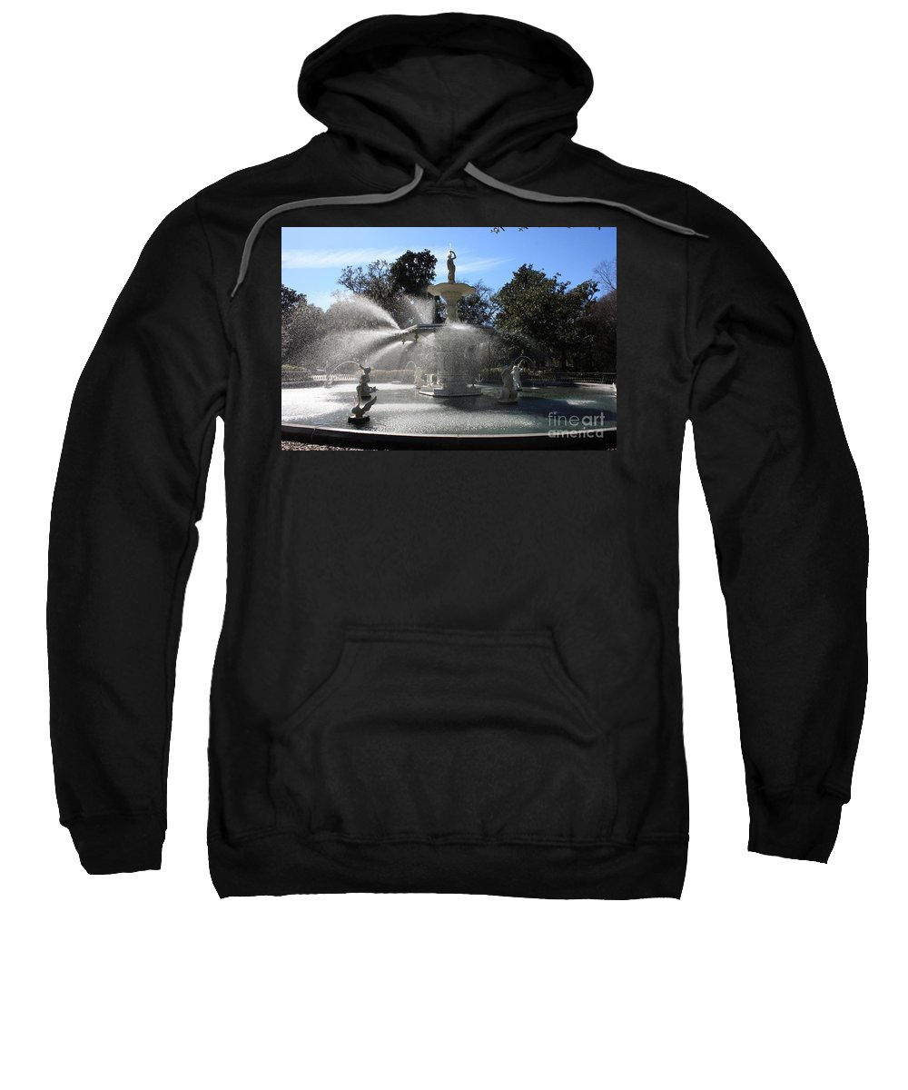 Park Sweatshirt featuring the photograph Savannah Fountain by Carol Groenen