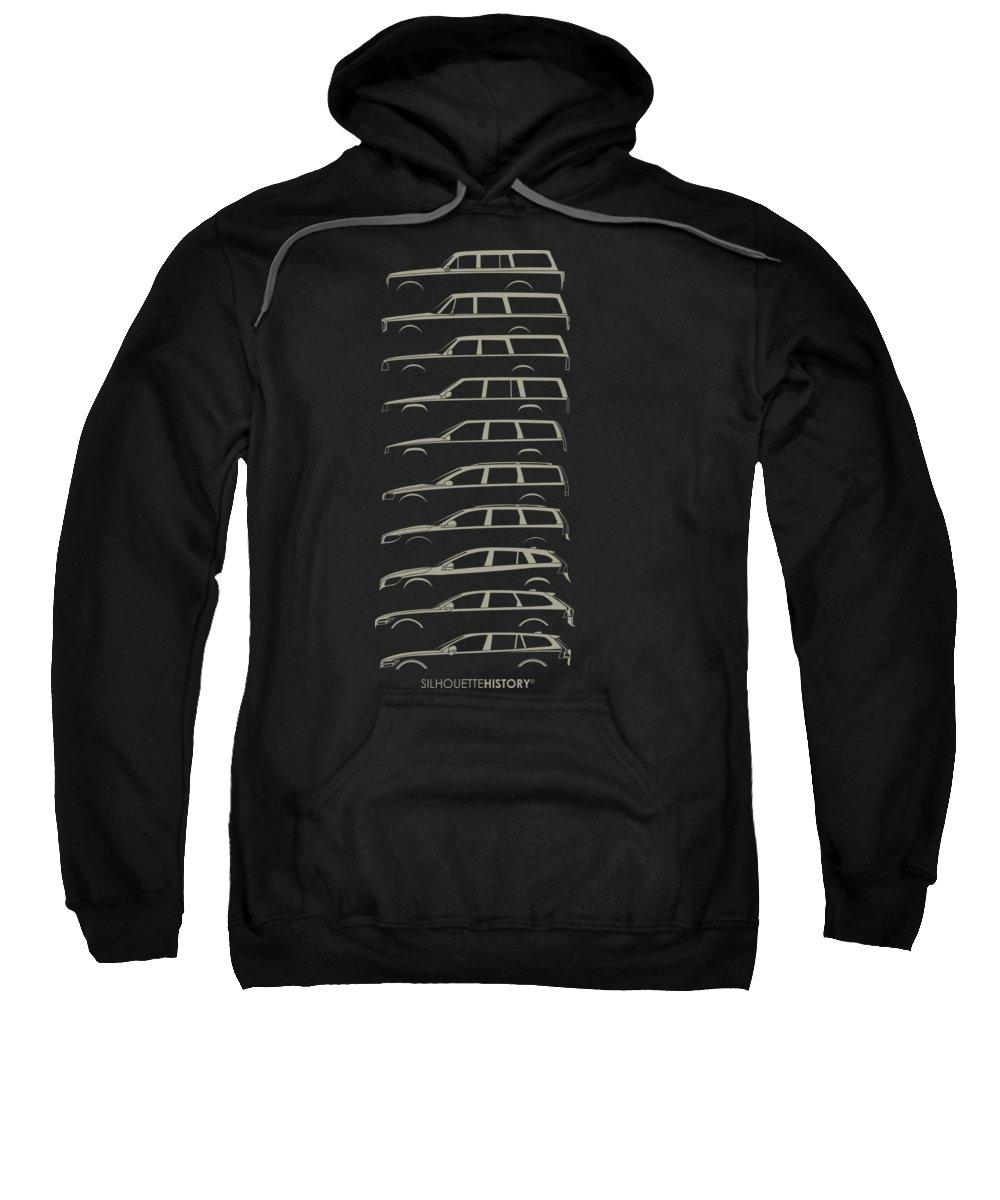 Family Car Sweatshirt featuring the digital art Scandinavian Wagon Silhouettehistory by Gabor Vida