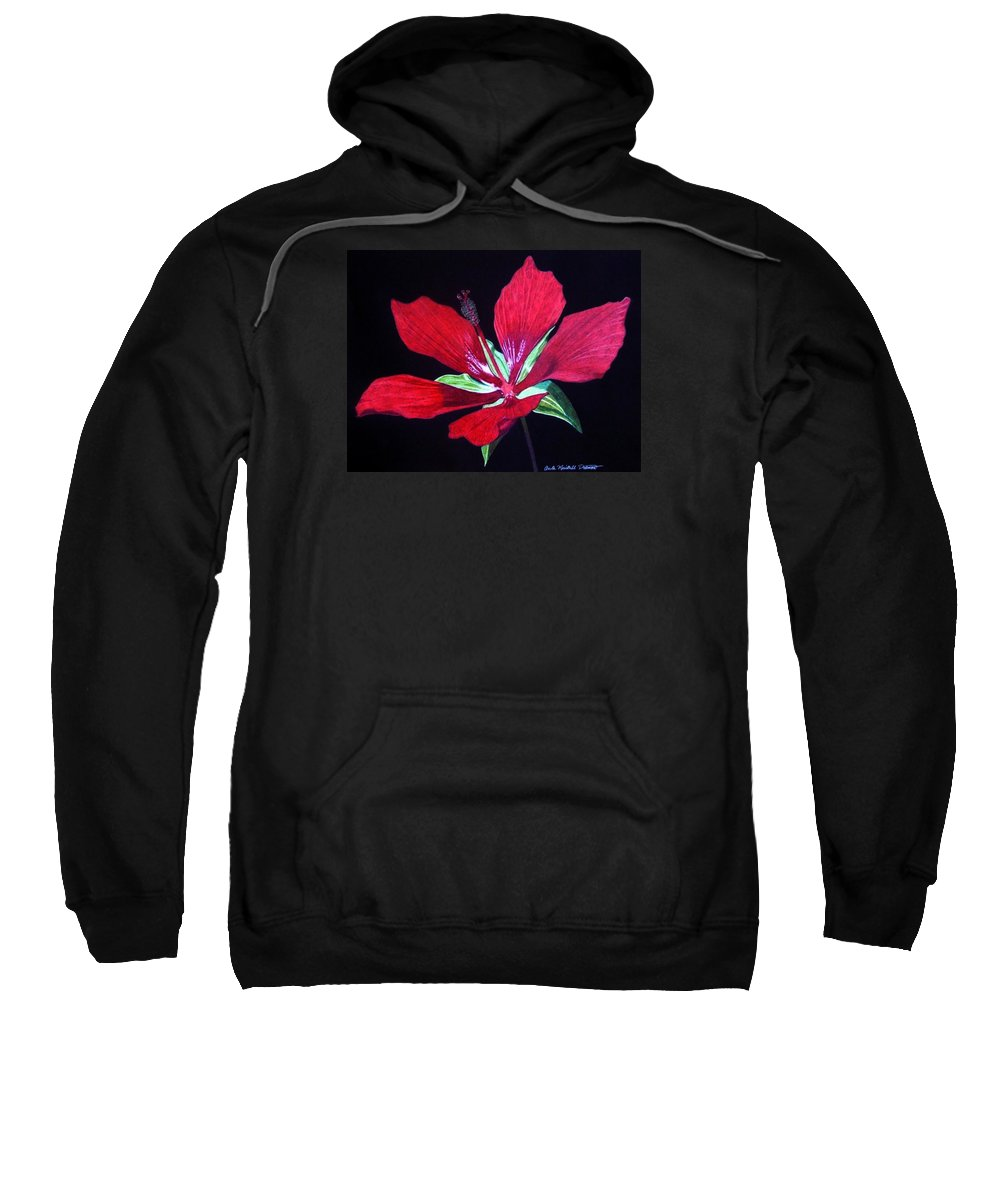Hibiscus Sweatshirt featuring the drawing Scarlet by Anita Putman