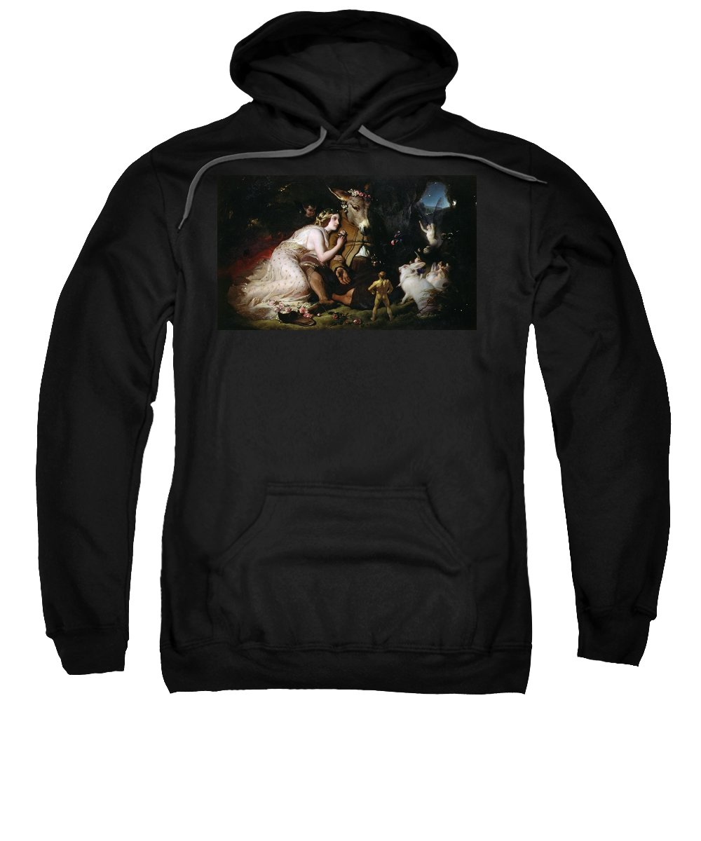 Scene From A Midsummer Night's Dream. Titania And Bottom Sweatshirt featuring the painting Scene From A Midsummer Night's Dream by Sir Edwin Landseer