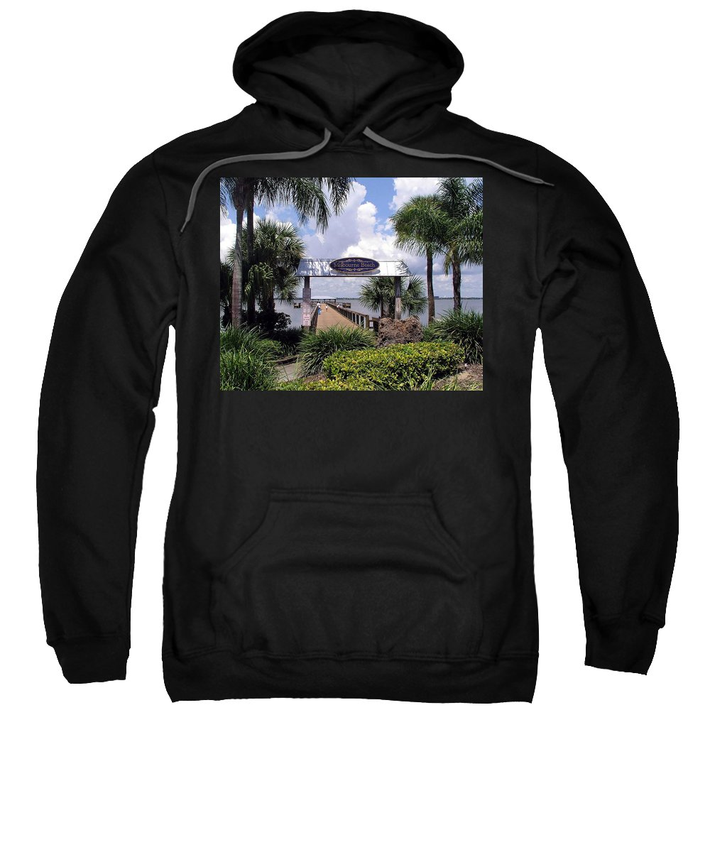 Melbourne Beach; Melbourne; Beach; Florida Usa; Brevard; Pier; Wharf; Scenic; River; Indian; Clouds; Sweatshirt featuring the photograph Scenic Melbourne Beach Pier Florida by Allan Hughes