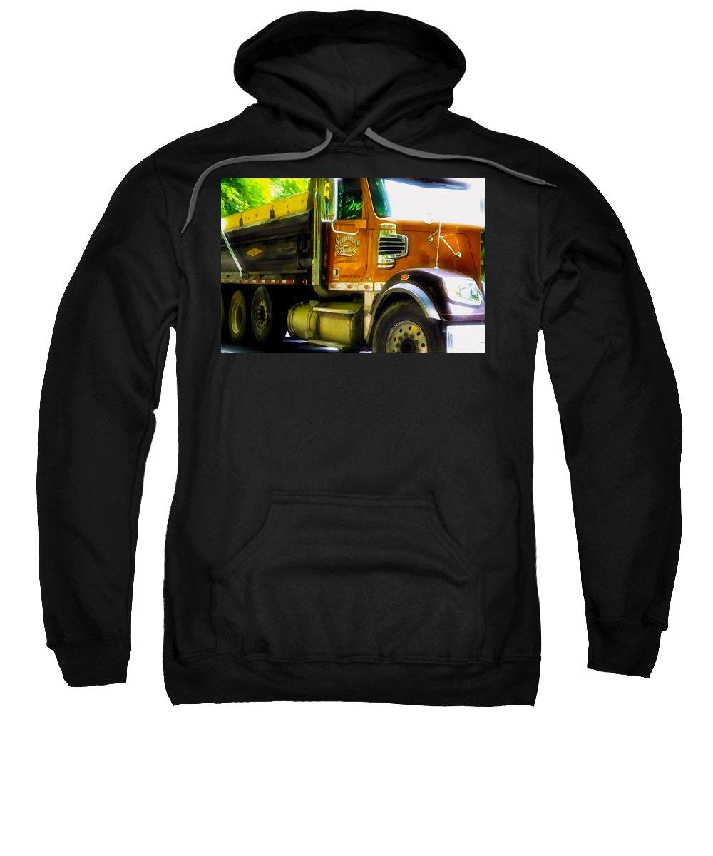 Schoenecker Trucking Sweatshirt featuring the painting Schoenecker Trucking by Jeelan Clark