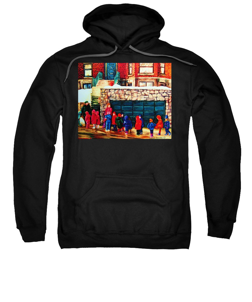 Montreal Streetscenes Sweatshirt featuring the painting Schools Out by Carole Spandau