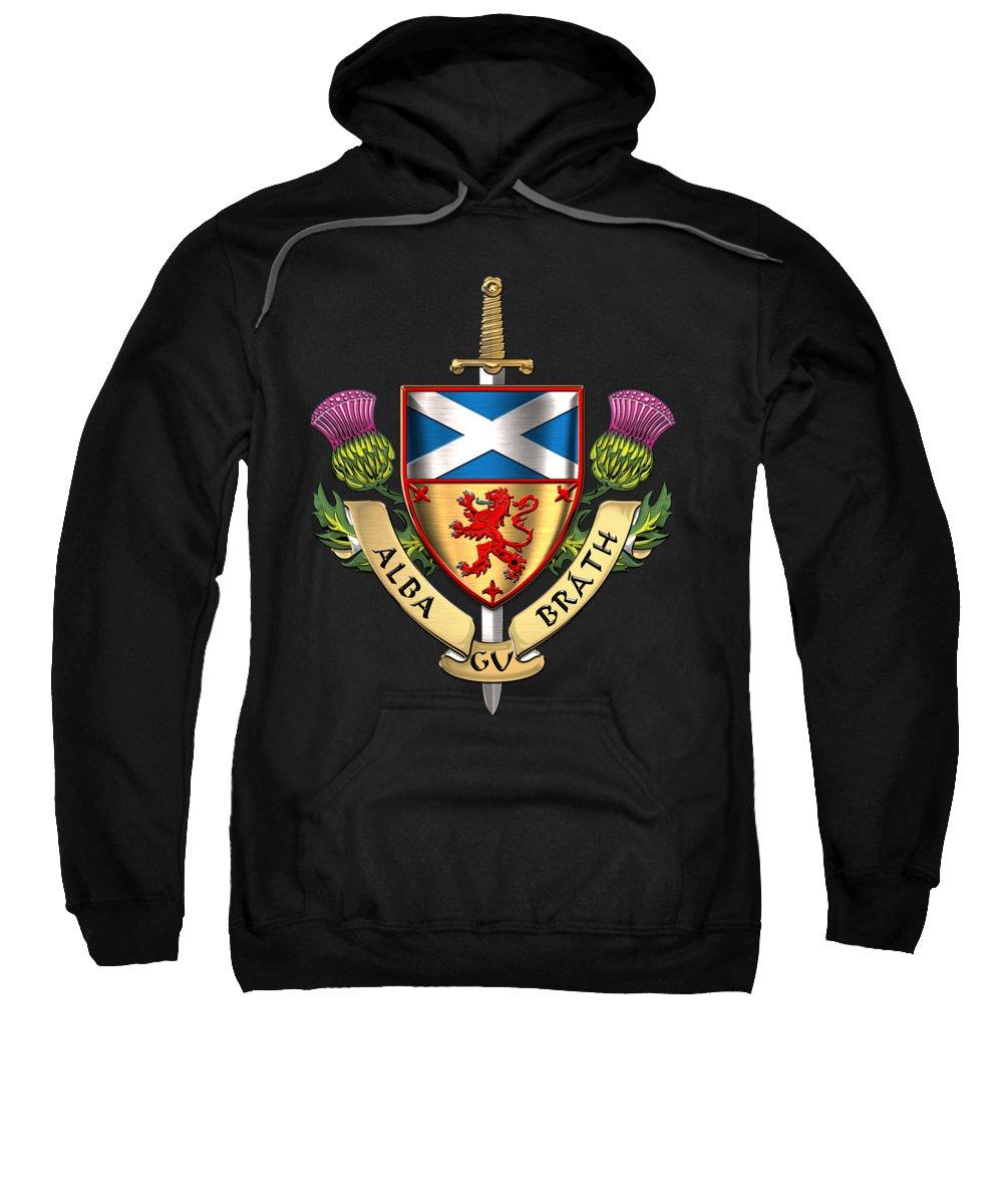 """world Heraldry"" Collection Serge Averbukh Sweatshirt featuring the digital art Scotland Forever - Alba Gu Brath - Symbols Of Scotland Over Black Velvet by Serge Averbukh"