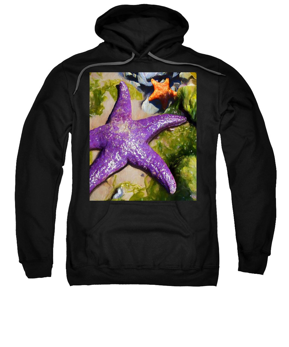 Sea Stars Sweatshirt featuring the painting Sea Stars by David Wagner