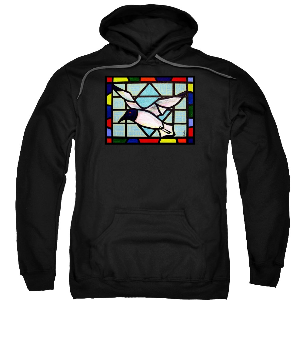 Seagull Sweatshirt featuring the painting Seagull Serenade by Jim Harris