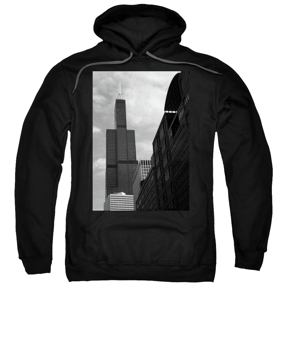 Sears Tower Sweatshirt featuring the photograph Sears Tower B-w by Ely Arsha