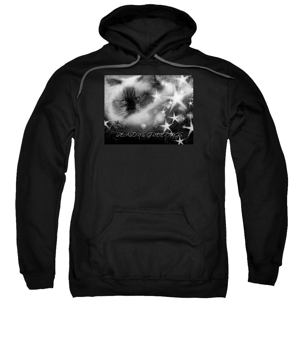 Sweatshirt featuring the photograph Seasons Greetings Bw by Theresa Campbell