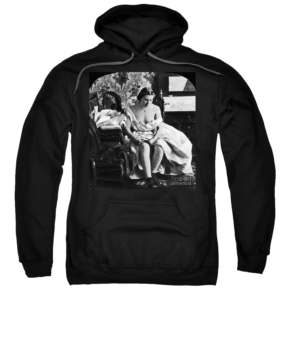 1861 Sweatshirt featuring the photograph Seated Nude, C1861 by Granger