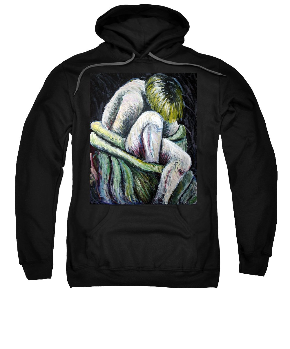 Woman Sweatshirt featuring the painting Seated Woman Abstract by Nancy Mueller