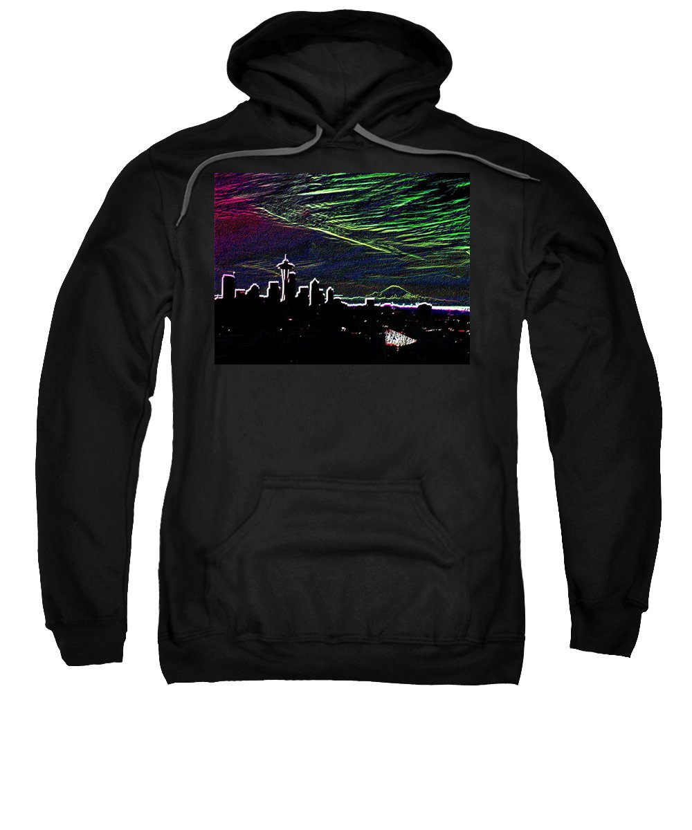 Seattle Sweatshirt featuring the digital art Seattle And Da Mountain by Tim Allen