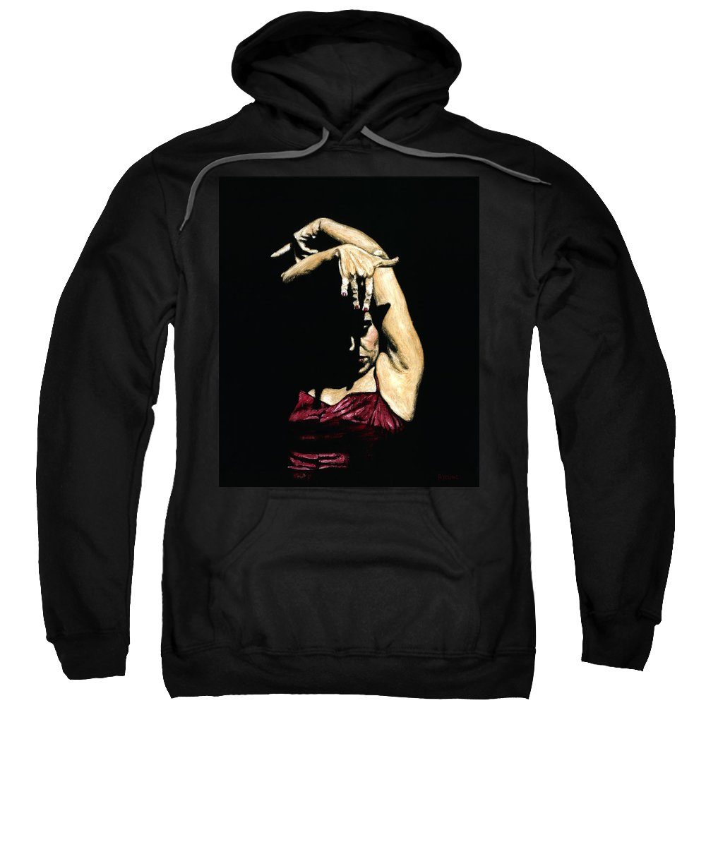Flamenco Sweatshirt featuring the painting Seclusion del Flamenco by Richard Young