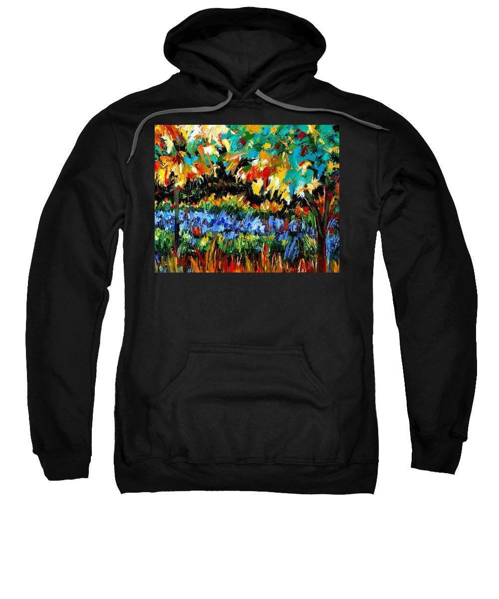 Landscape Sweatshirt featuring the painting Secret Garden by Debra Hurd