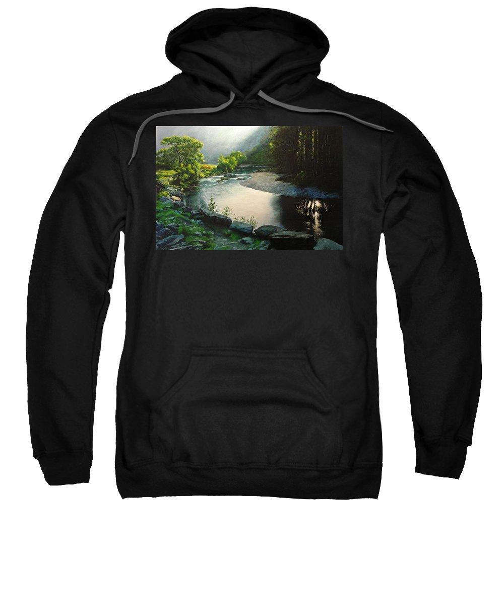 Valley Sweatshirt featuring the painting Secret Valley by Harry Robertson