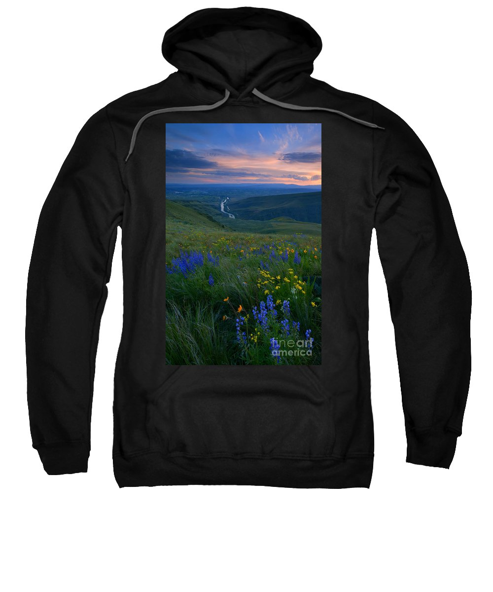 Wildflowers Sweatshirt featuring the photograph Selah Sunset by Mike Dawson