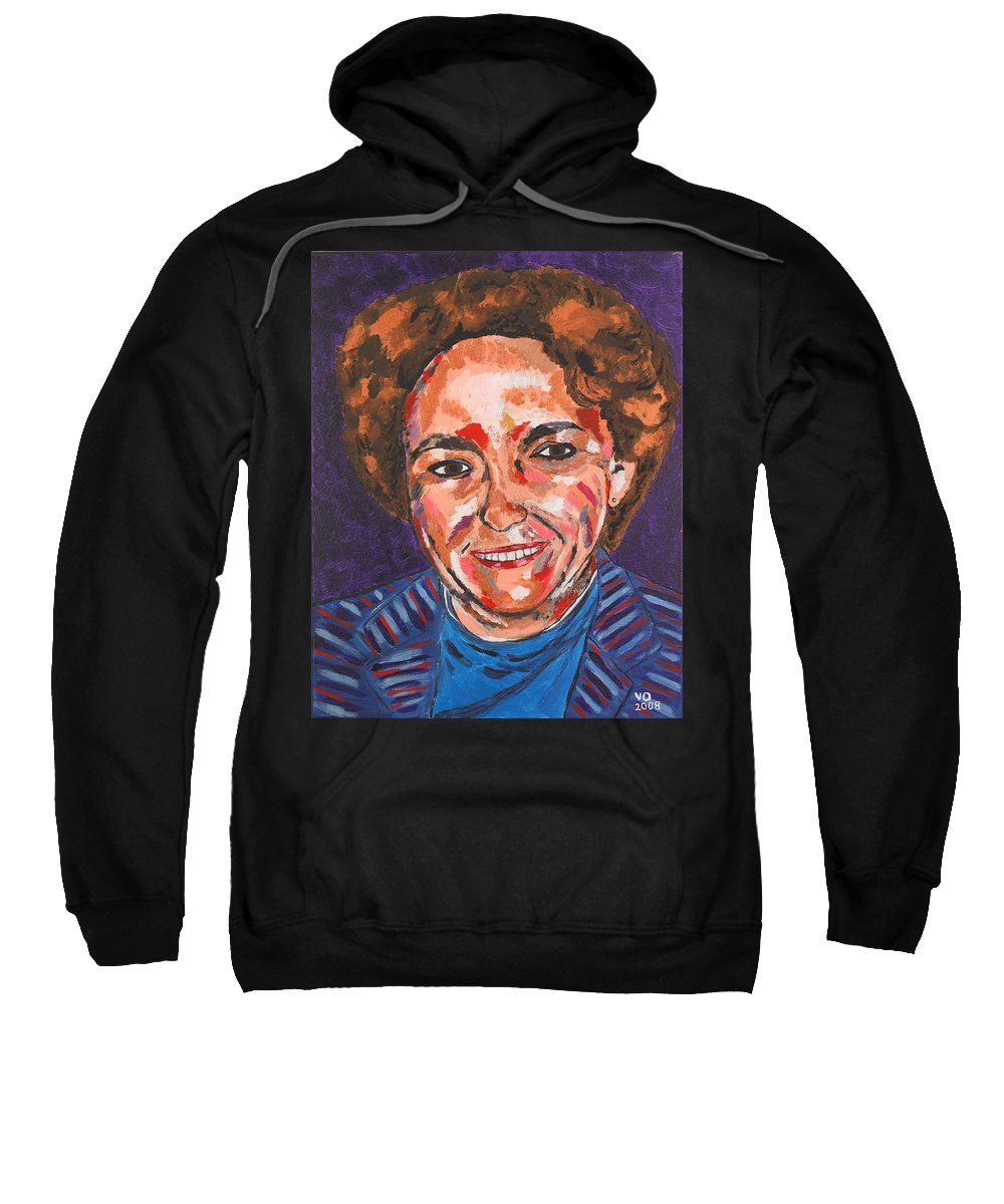 Portrait Sweatshirt featuring the painting Self-portrait With Blue Jacket by Valerie Ornstein