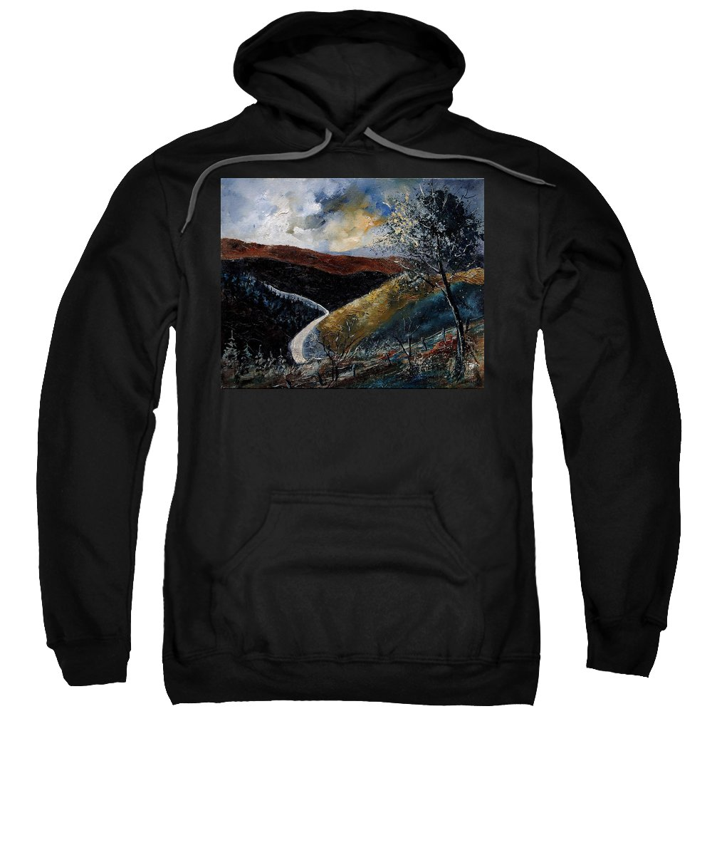 River Sweatshirt featuring the painting Semois Valley by Pol Ledent