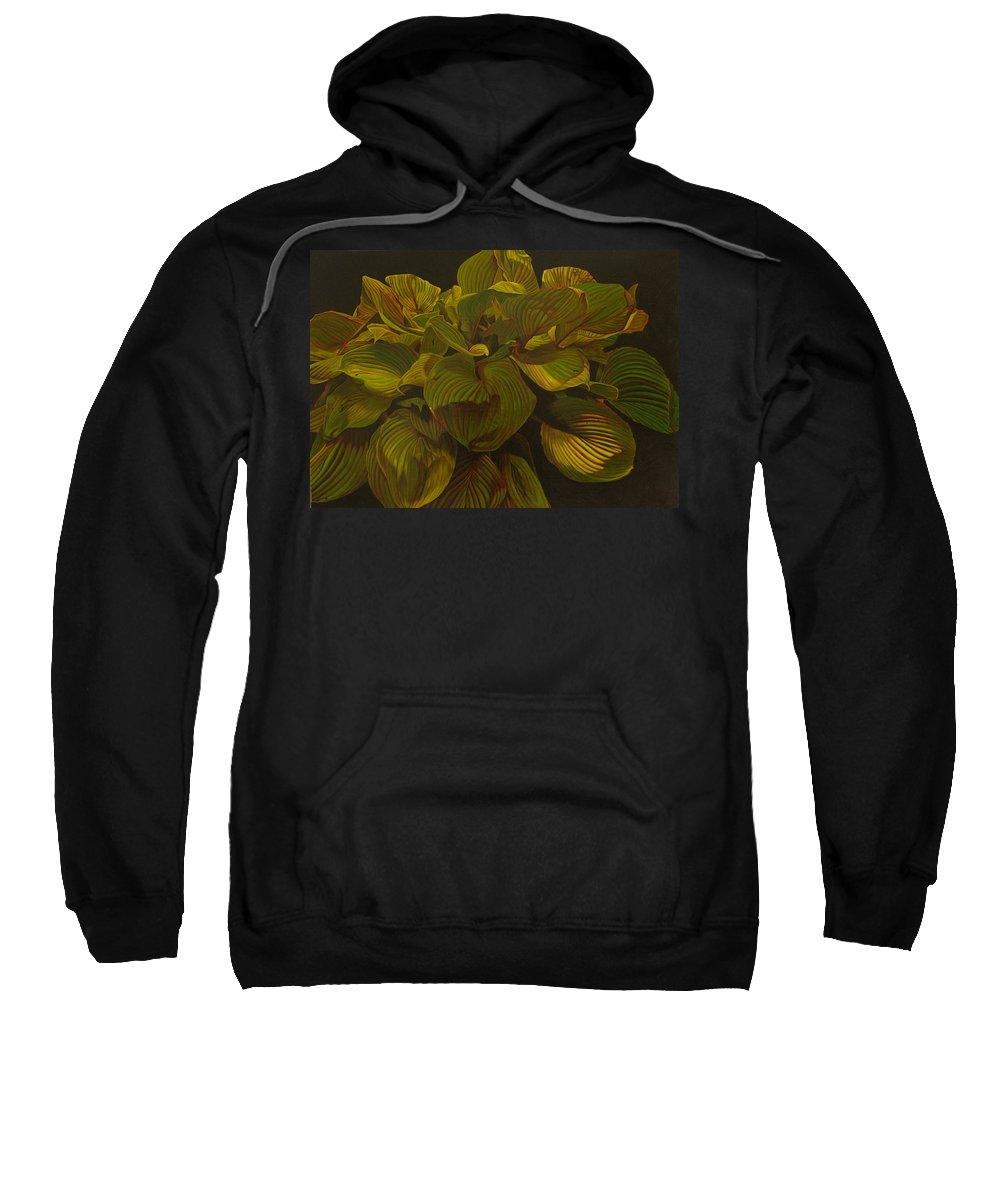 Plant Sweatshirt featuring the painting September Night by Thu Nguyen