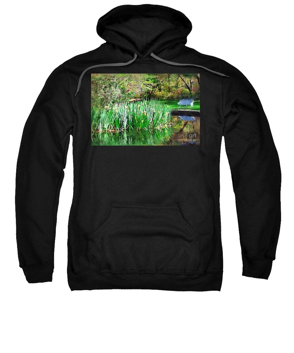 Park Sweatshirt featuring the photograph Serene Iris by Donna Bentley