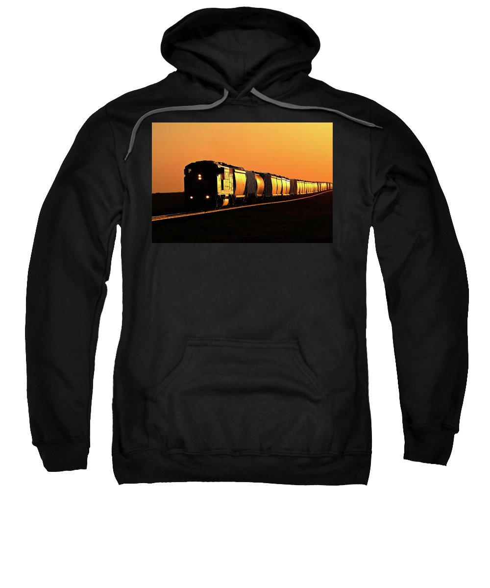 Sunlit Sweatshirt featuring the digital art Setting Sun Reflecting Off Train And Track by Mark Duffy