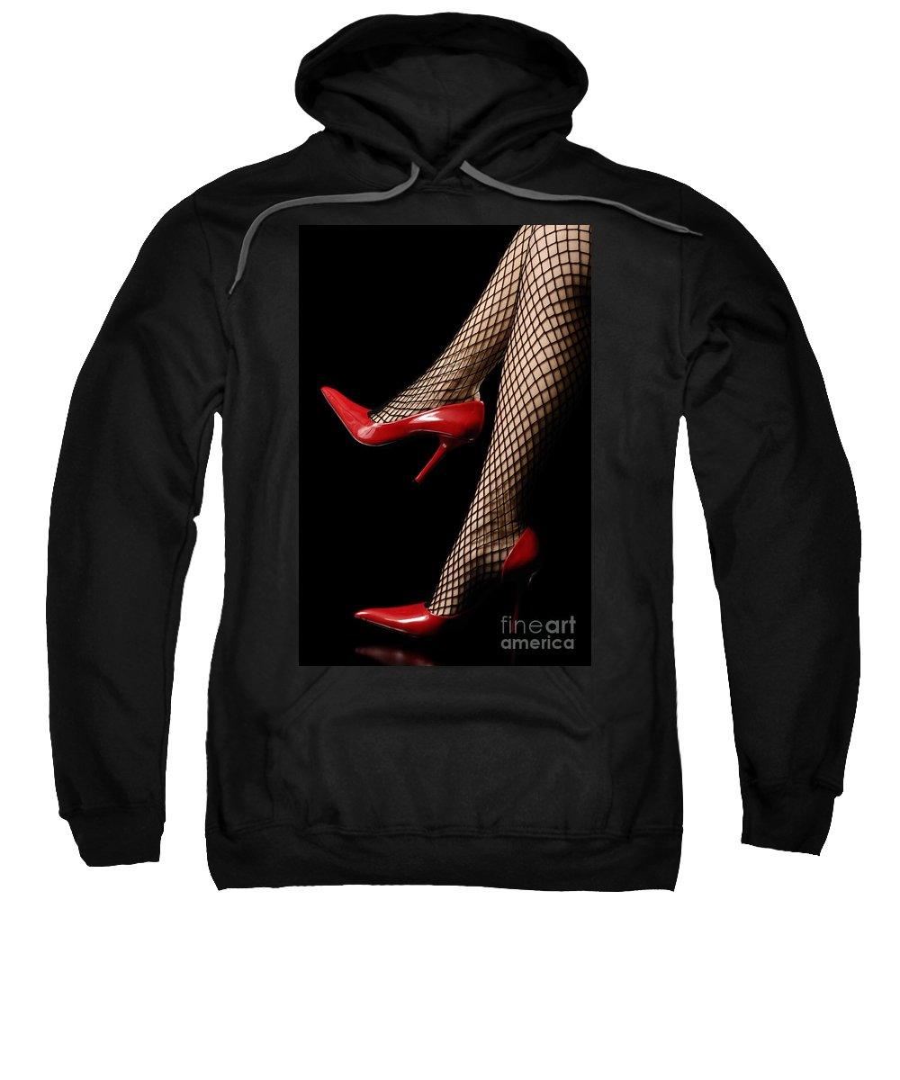 Woman Sweatshirt featuring the photograph Sexy Legs In Red Shoes by Oleksiy Maksymenko