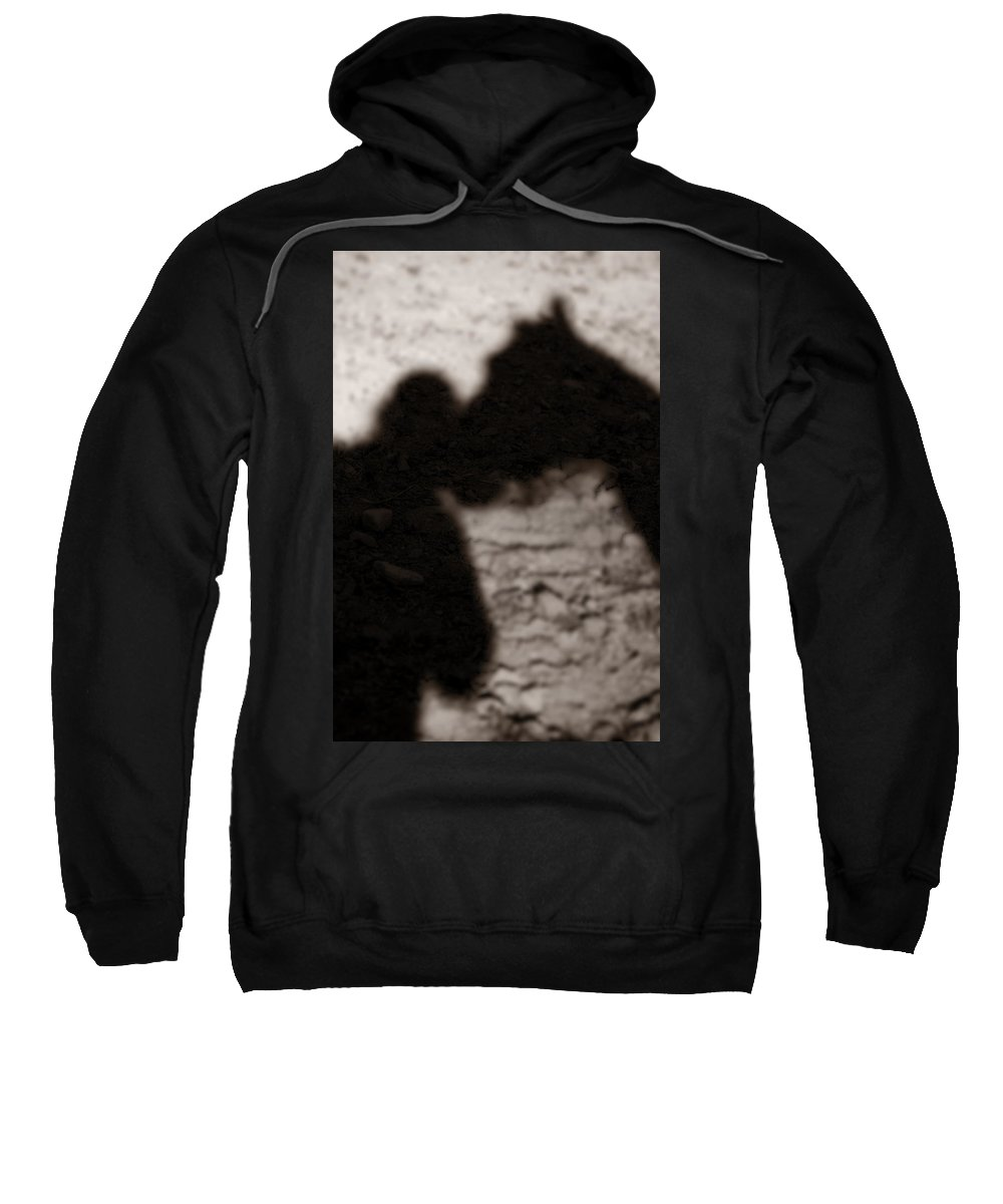 Shadow Sweatshirt featuring the photograph Shadow Of Horse And Girl - Vertical by Angela Rath
