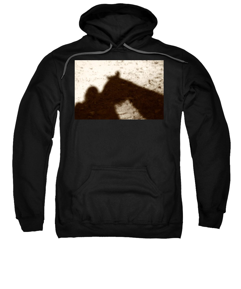 Shadow Sweatshirt featuring the photograph Shadow Of Horse And Girl by Angela Rath