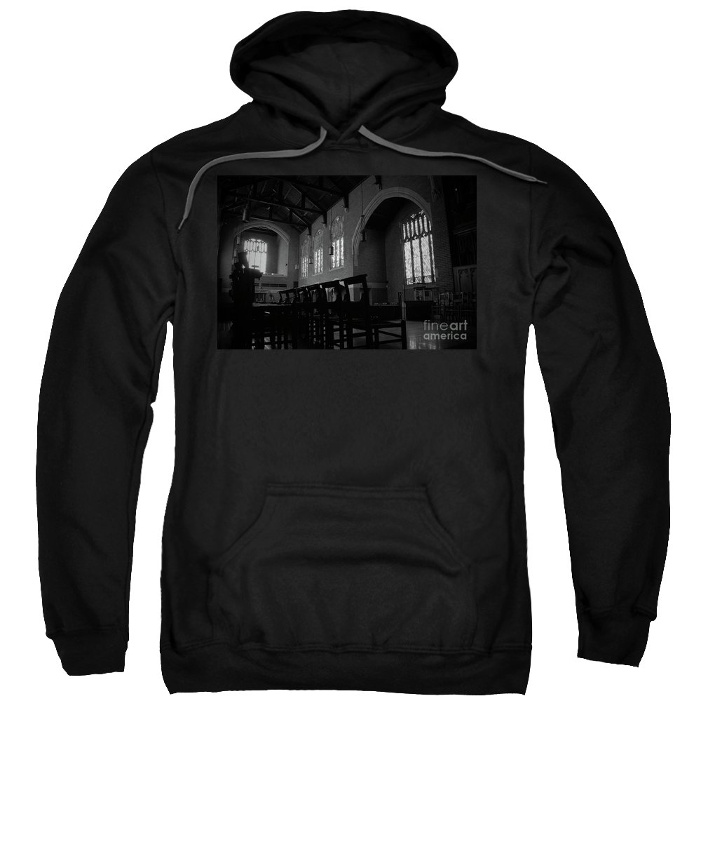 Augustana Sweatshirt featuring the photograph Shadow Of The Empty Chairs by Jost Houk