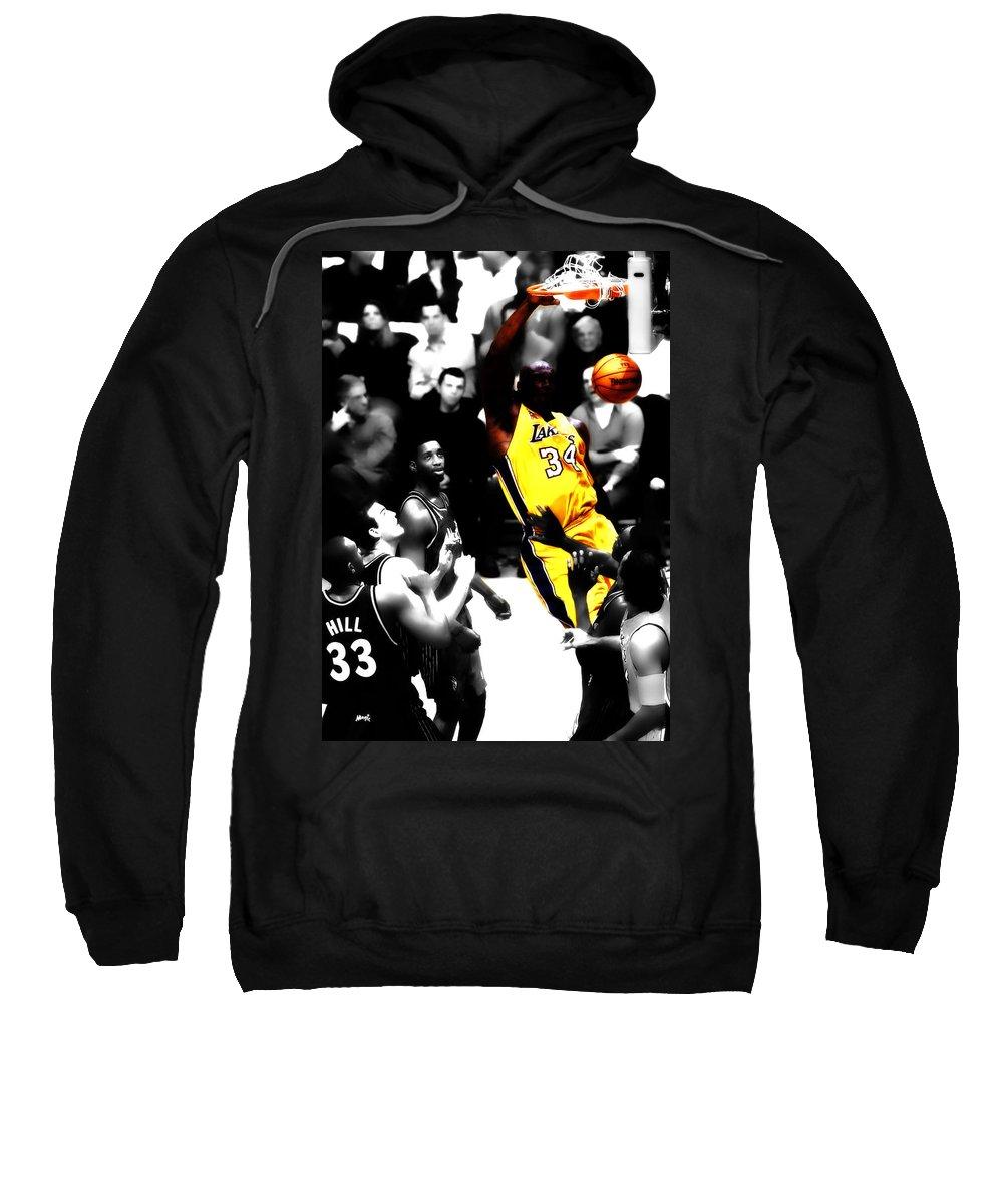 Shaquille Rashaun O'neal Sweatshirt featuring the digital art Shaq Monster Slam by Brian Reaves