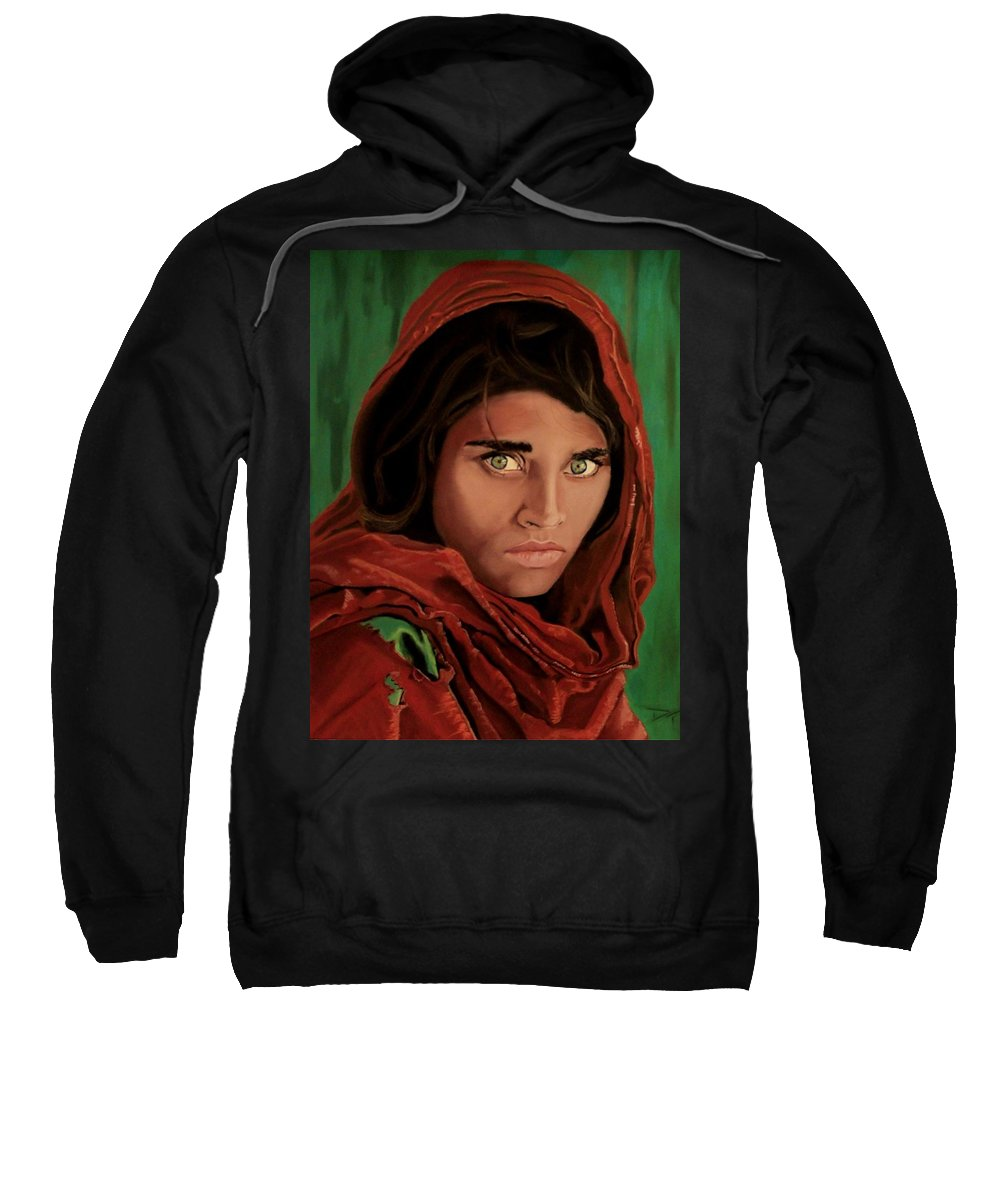 Afghan Girl Sweatshirt featuring the painting Sharbat Gula From Nat Geo Mccurry 1985 by D Turner