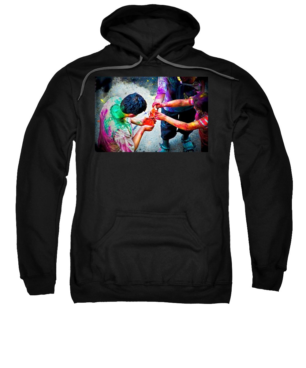 Historical Sweatshirt featuring the photograph Sharing Colors Sharing Happiness by Charuhas Images