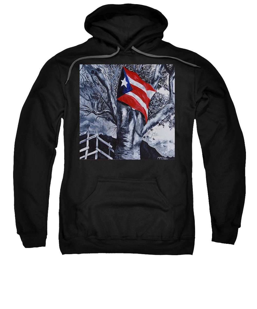 Puerto Rican Flag Sweatshirt featuring the painting She Still Waves by Melissa Torres