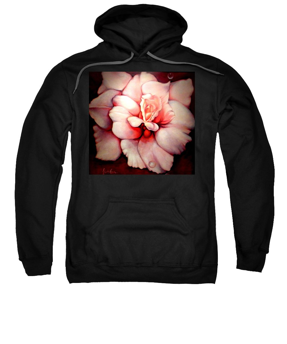 Blooms.large Rose Sweatshirt featuring the painting Sheer Bliss by Jordana Sands