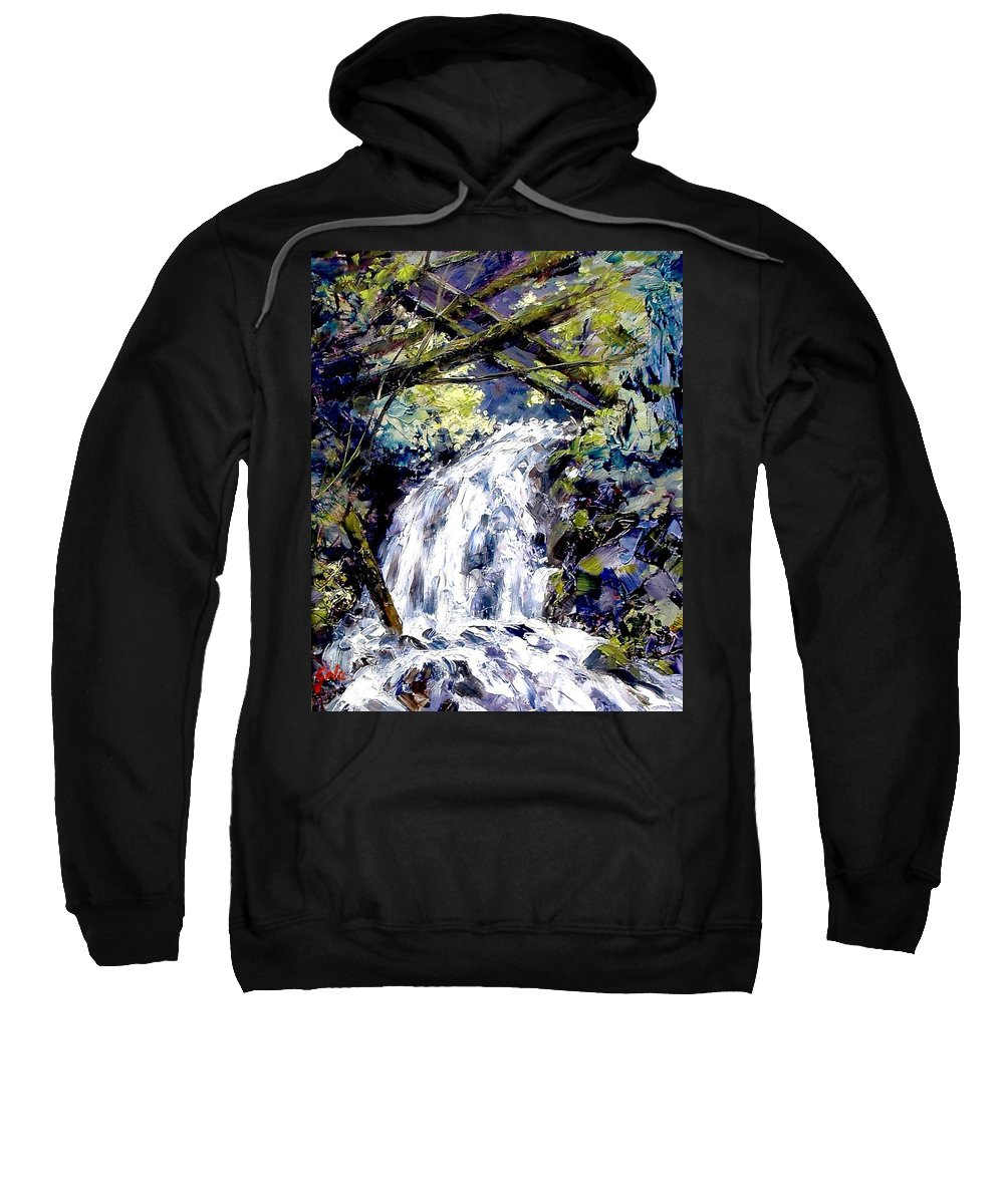 Landscape Sweatshirt featuring the painting Shepherds Dell Falls Coumbia Gorge OR by Jim Gola