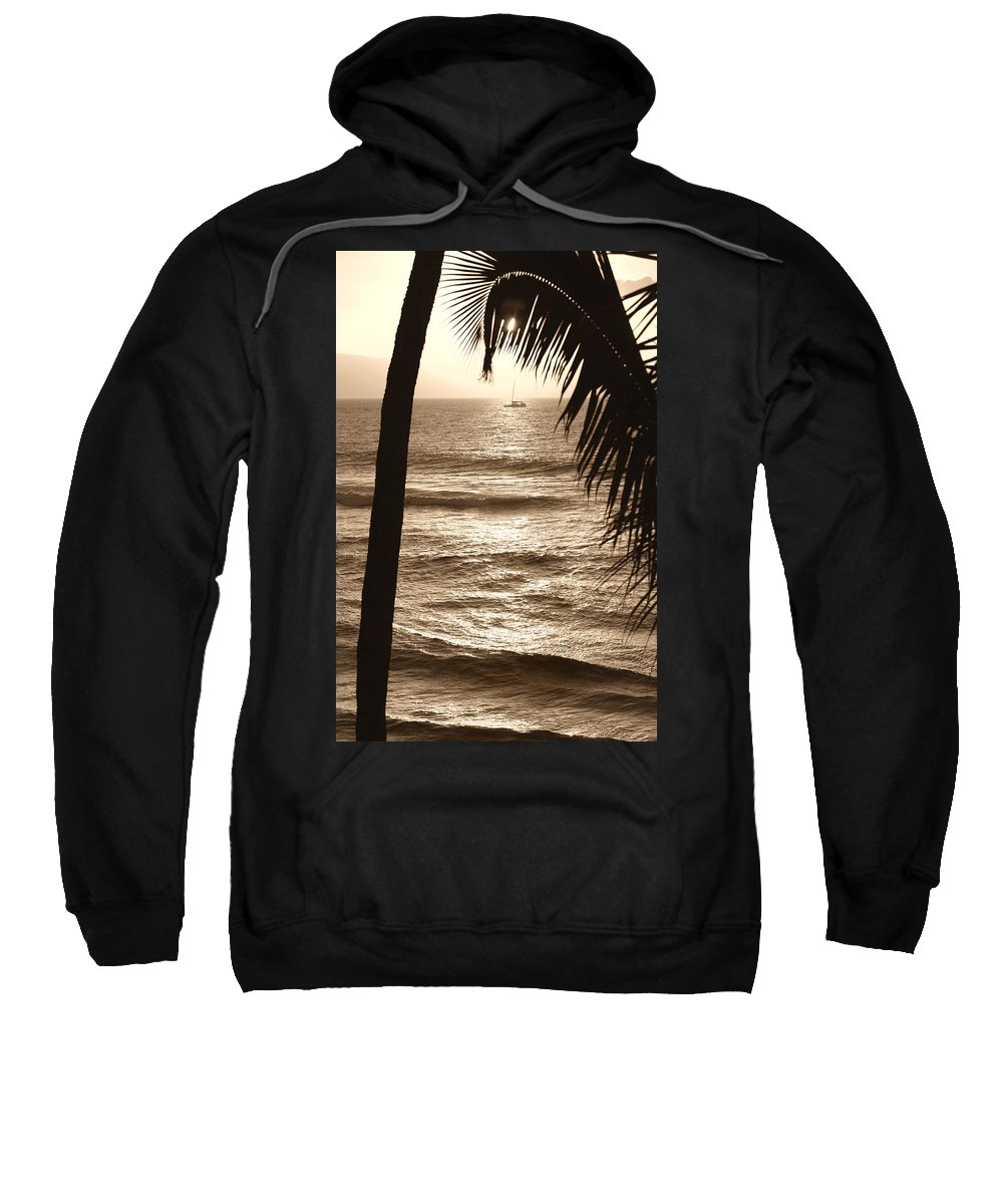 Hawaii Sweatshirt featuring the photograph Ship In Sunset by Marilyn Hunt