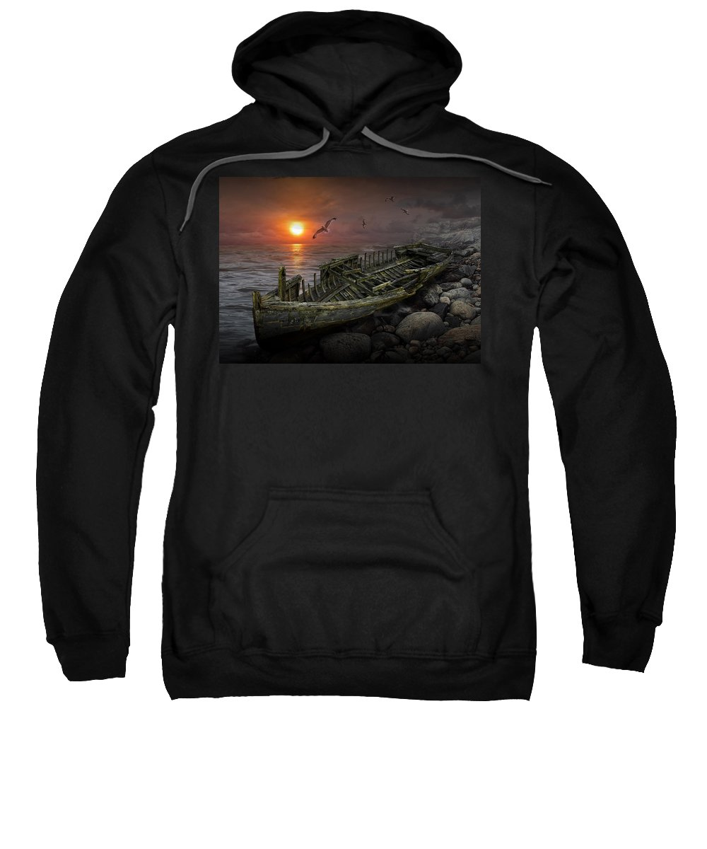 Shipwreck Sweatshirt featuring the photograph Shipwreck At Sunset by Randall Nyhof