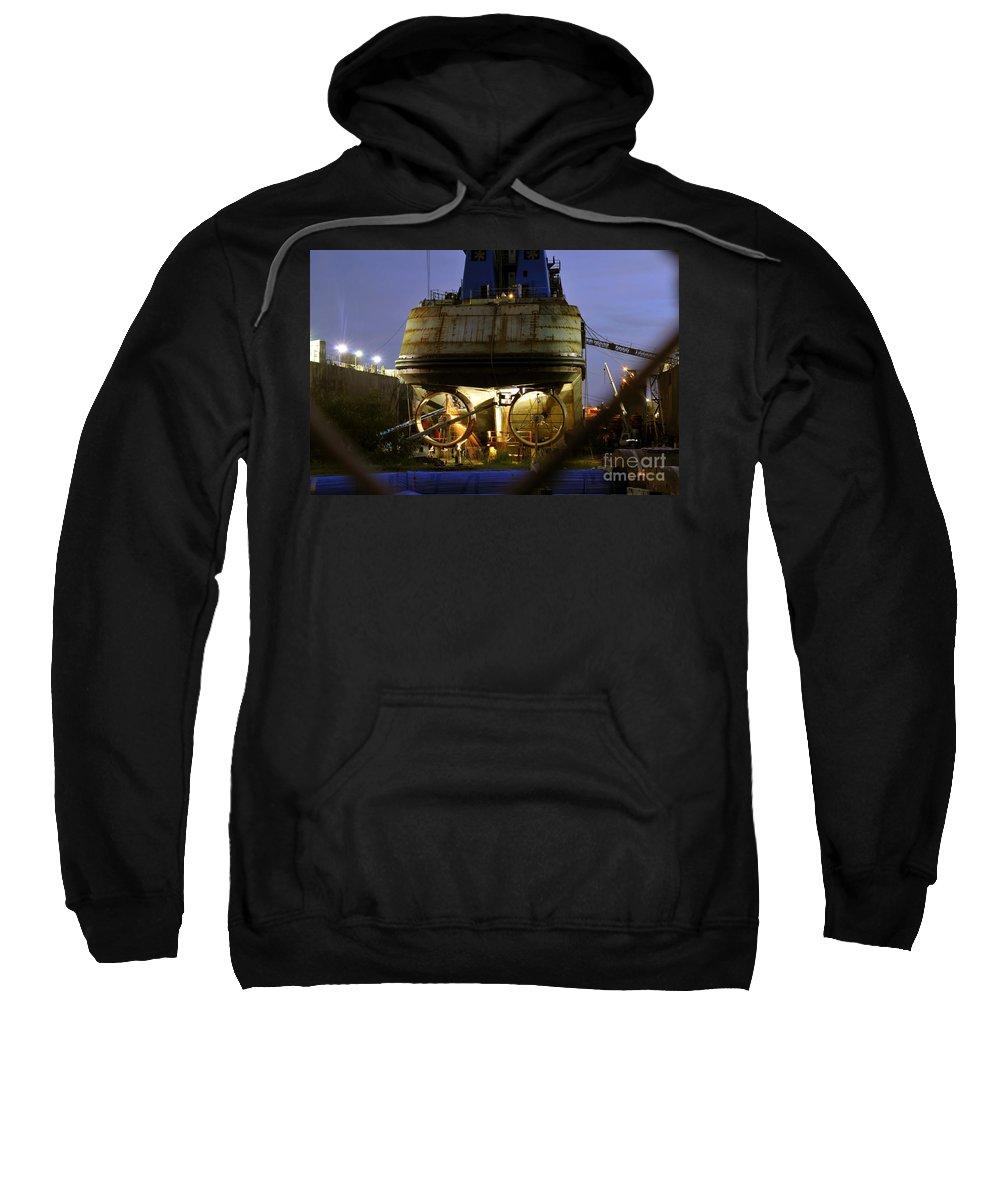 Shipyard Sweatshirt featuring the photograph Shipyard Work by David Lee Thompson