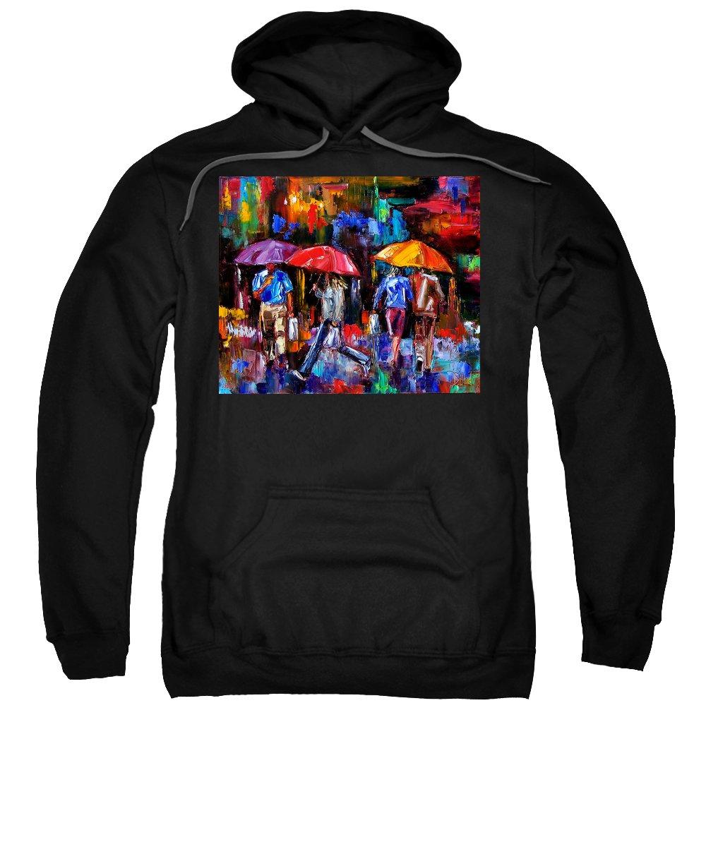 Umbrellas Sweatshirt featuring the painting Shopping Bags by Debra Hurd