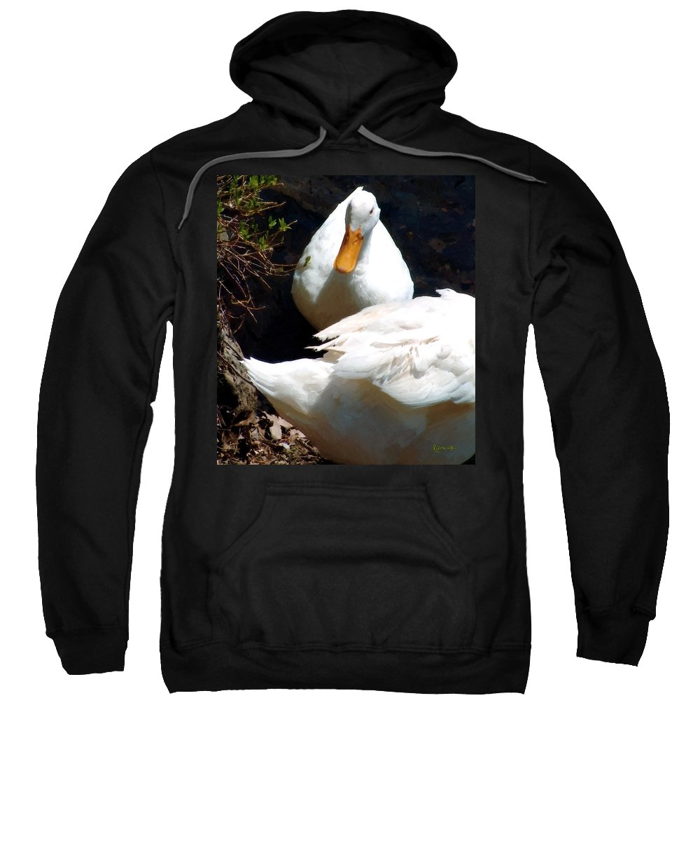 Duck Sweatshirt featuring the painting Should I by RC DeWinter